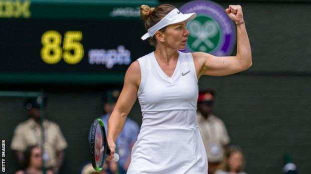 Simona Halep celebrates at Wimbledon