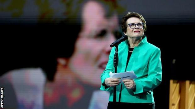 Billie Jean King gives a speech at the US Open in 2019