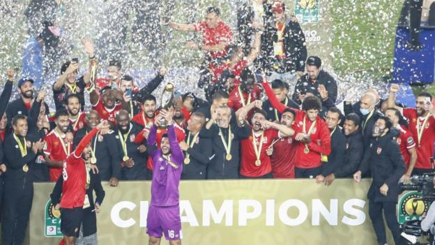Al Ahly lift the African Champions League trophy