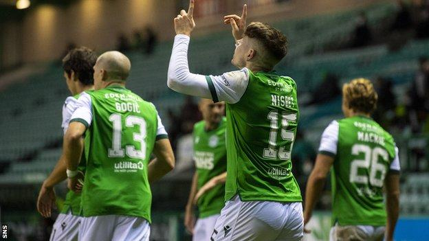 Undeterred by his second penalty miss in succession, the Hibs striker was a constant menace and netted a superb goal