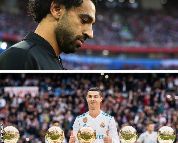 Salah, and Cristiano Ronaldo with his Ballon d'Or awards