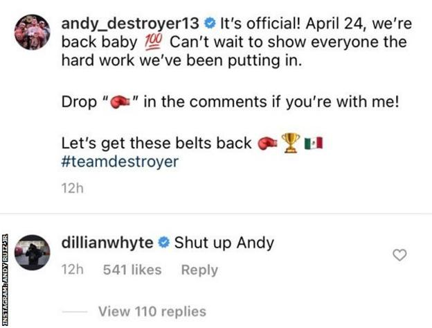 Dillian whyte replied to ruiz jr's comeback announcement on instagram with 'shut up andy'