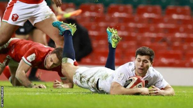 Ben Youngs scores a try for England during a Six Nations game against Wales