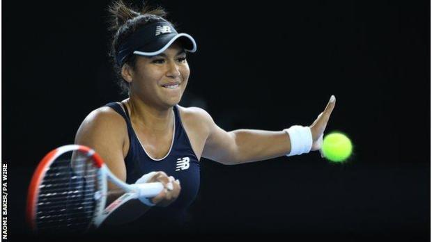 Heather Watson hits a return for Great Britain in the BJK Cup match against Mexico's Marcela Zacarias