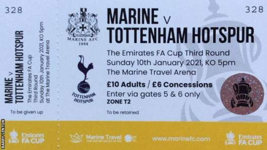 A ticket for the FA Cup tie between Marine and Tottenham Hotspur in the third round of the FA Cup