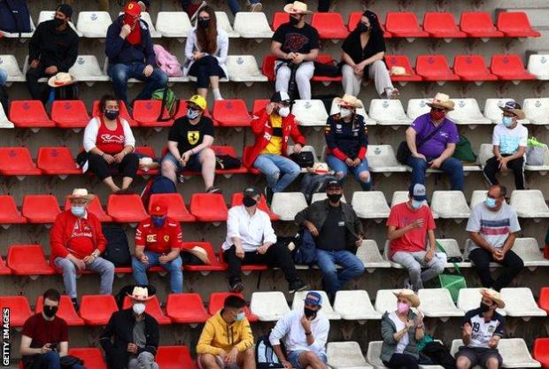 Fans watch from the grandstands in Barcelona