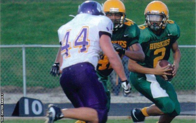 Zac Easter playing American Football