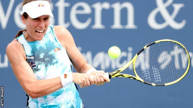 Johanna Konta in action at the Western and Southern Open in Cincinnati