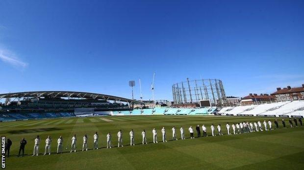 Players, officials and coaching staff observed a minute's silence in the match between Surrey and Leicestershire at The Kia Oval