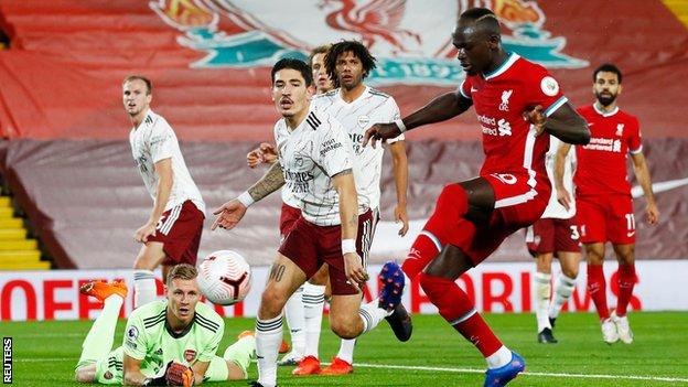 Sadio Mane scores in Liverpool's 3-1 league win over Arsenal at Anfield