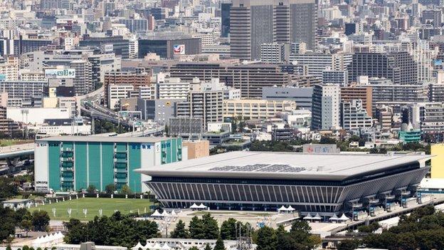 General view of the Tokyo Aquatics Centre,