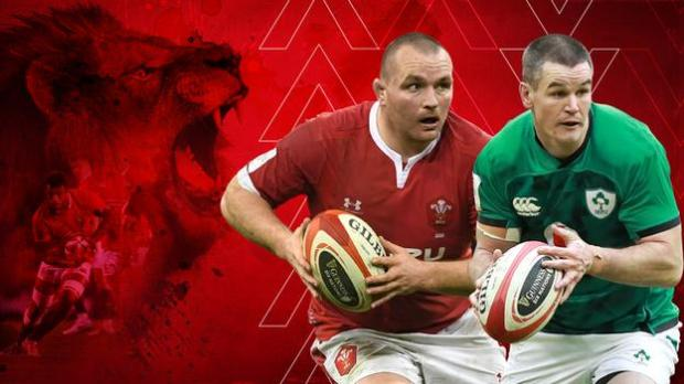 A graphic with a Lion in the background and Ken Owens and Johnny Sexton in the foreground