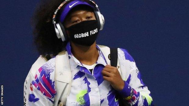 Naomi Osaka in a George Floyd face mask