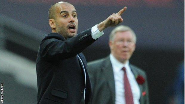 Pep Guardiola in charge of Barcelona in the 2011 Champions League final against Manchester United