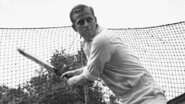 Prince Philip practises his batting in the nets