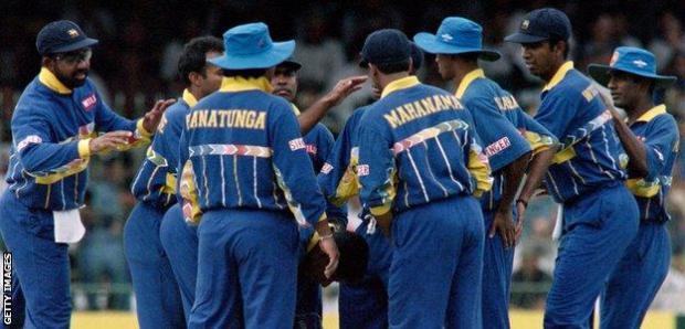 Sri Lanka celebrate during the 1996 World Cup