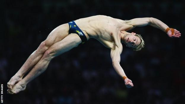 Matthew Mitcham diving during the men's 10 platform at the 2008 Beijing Olympics