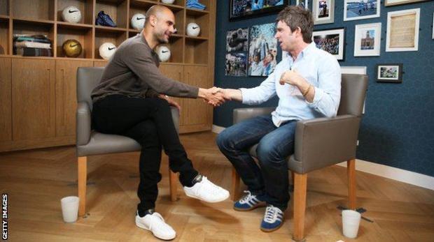 City boss Pep Guardiola meets Noel Gallagher in July 2016