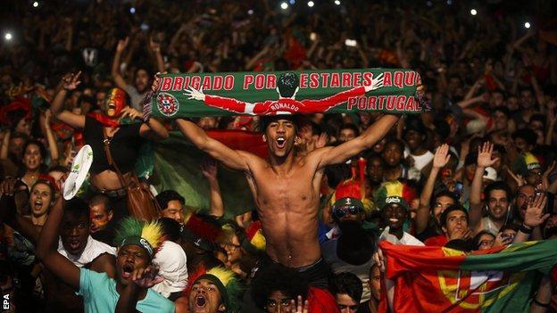 Portugal fans in Lisbon