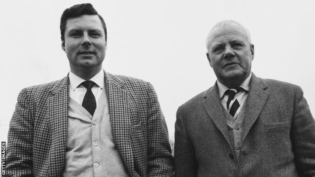 foot ball Peter Alliss and his father Percy, unknown date