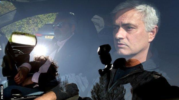 Jose Mourinho leaves Tottenham's training ground