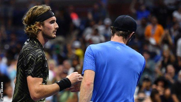 Stefanos Tsitsipas and Andy Murray shake hands after the US Open match