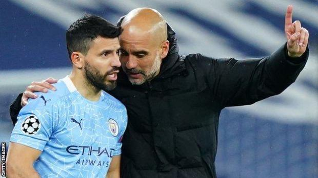 Sergio Aguero with Man City boss Pep Guardiola