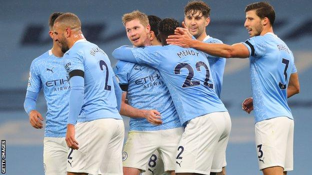 Manchester City pair Kevin de Bruyne (centre) and Ruben Dias (right) could go big against Brighton.