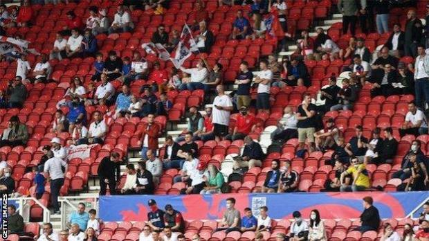 England fans at Middlesbrough's Riverside Stadium