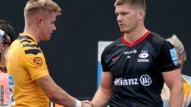 Owen Farrell waited to apologise to Wasps' replacement Charlie Atkinson before leaving the field