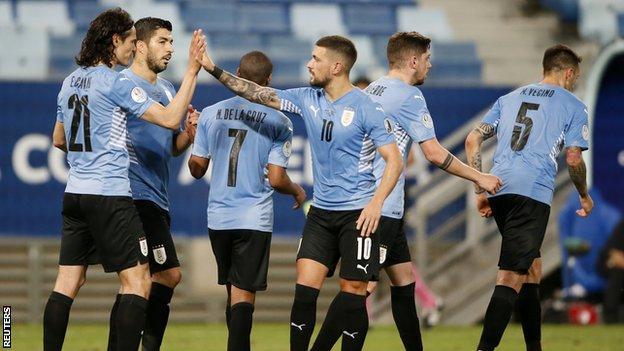 Uruguay players celebrating
