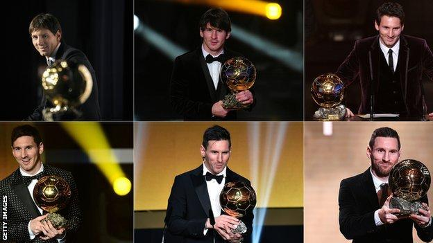 Lionel Messi with his six Ballon d'Or trophies