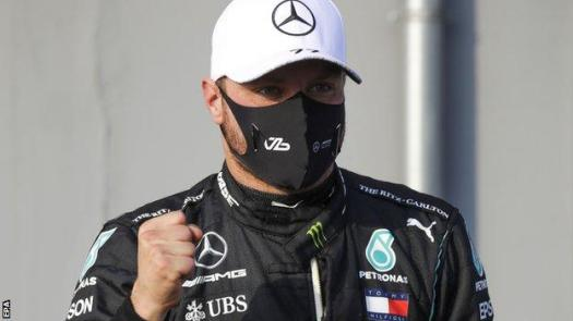 Valtteri Bottas celebrates pole