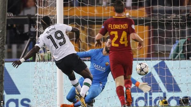 Sadio Mane scores for Liverpool against Roma