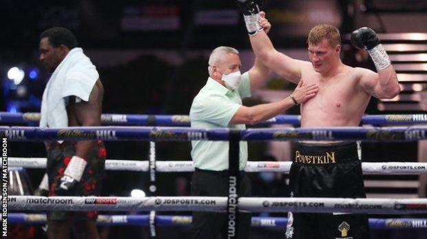Povetkin's hand is raised and he joins Anthony Joshua as the only men to beat Whyte