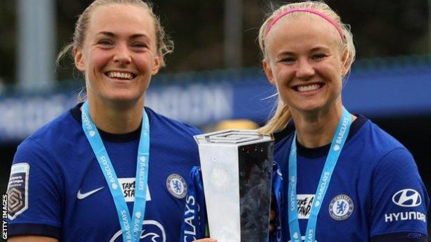 Chelsea team-mates Magdalena Eriksson and Pernille Harder lift the Women's Super League trophy