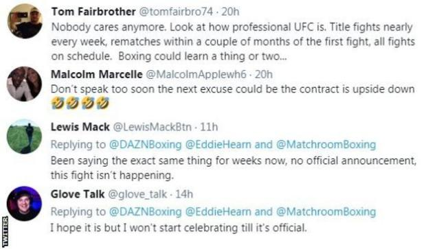"Fans on Twitter voice frustrations over Anthony Joshua v Tyson Fury not yet being signed. One fan says ""Nobody care anymore"" while another says ""I won't be celebrating until it's official."""