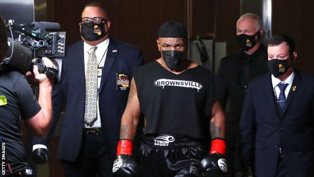 Tyson last fought in 2005 and looked focused as he walked to the ring for his highly-anticipated return
