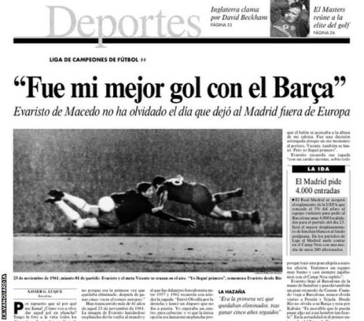 La Vanguardia newspaper cutting of interview with Evaristo, featuring a photo of his diving header against Real Madrid