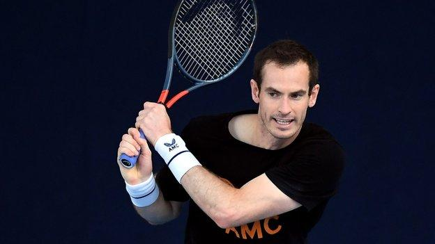 Andy Murray practising for the Battle of the Brits Team Tennis event
