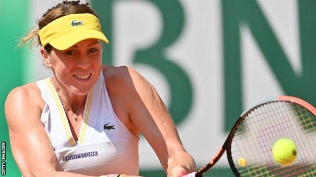 Anastasia Pavlyuchenkova hits a return in the French Open semi-final