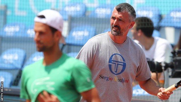 Novak Djokovic trains with Goran Ivanisevic