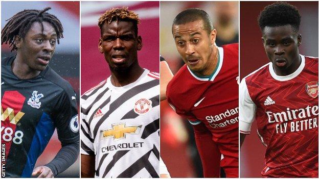 Eberechi Eze (Crystal Palace), Paul Pogba (Manchester United), Thiago Alcantara (Liverpool), Bukayo Saka (Arsenal)