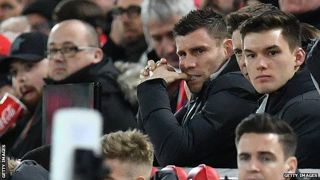 James Milner in the crowd at Anfield watching Liverpool Under-23s play Shrewsbury Town in the FA Cup