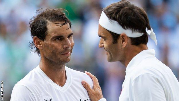 Rafael Nadal congratulates Roger Federer after their 2019 Wimbledon semi-final