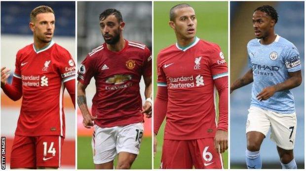 Jordan Henderson, Bruno Fernandes, Thiago, Raheem Sterling
