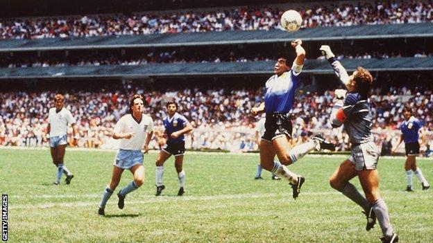 Diego Maradona's famous 'Hand of God' goal