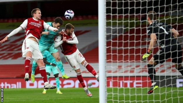 Diogo Jota scores for Liverpool against Arsenal