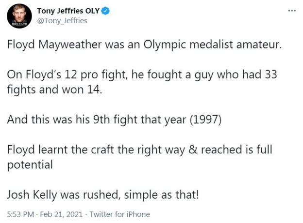 Tony Jeffries - who won Olympic bronze in 2008 - believes Kelly was not yet ready for an opponent like Avanesyan