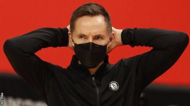 Brooklyn Nets head coach Steve Nash with his hands on his head during the fourth quarter of his team's loss to the Detroit Pistons on 9 February, 2021